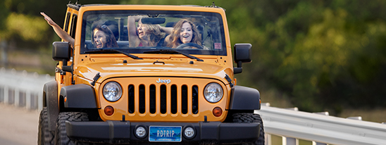 Girls in jeep